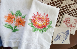 image of embroidered linen towels