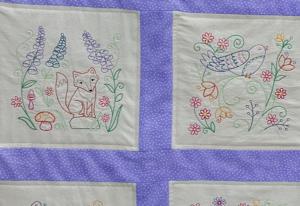 woodland animals quilt detail